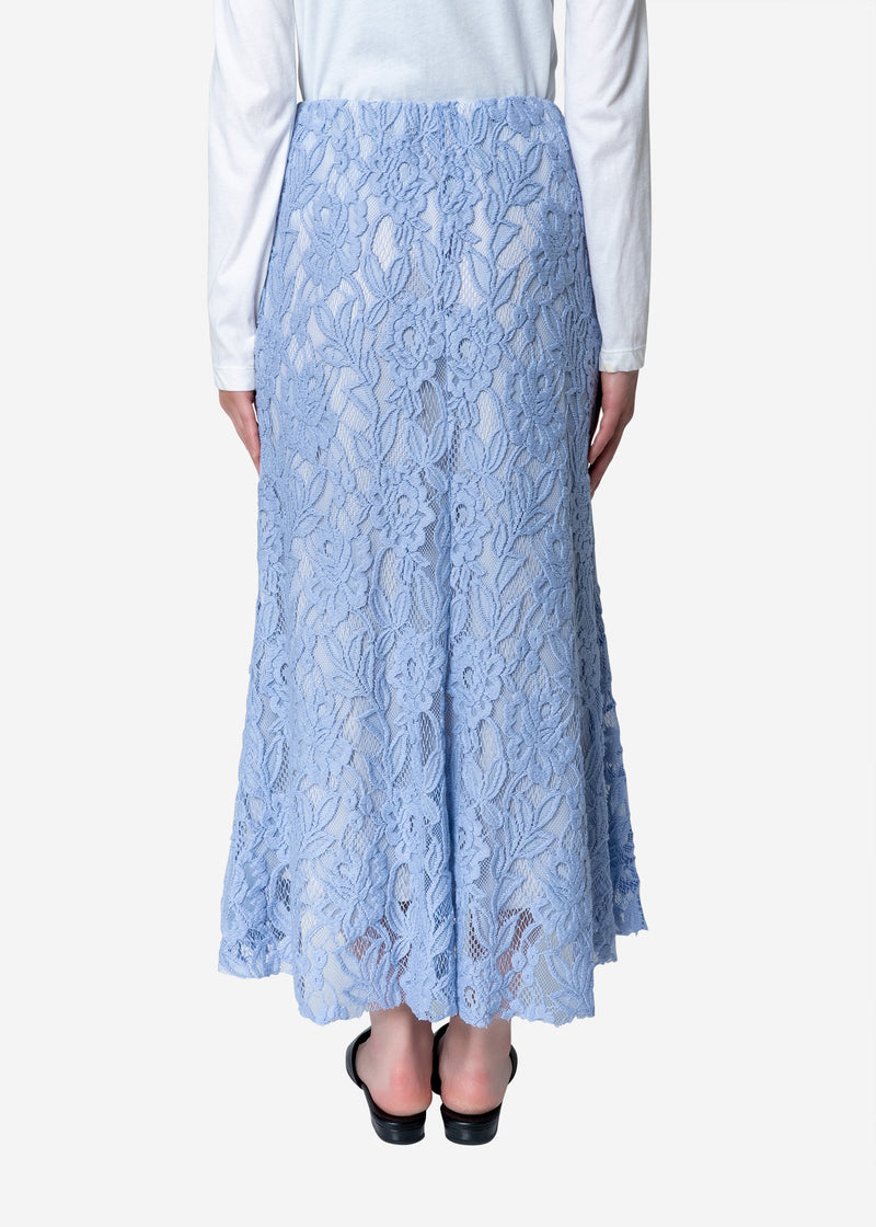 Floral Stretch Lace Skirt in Blue