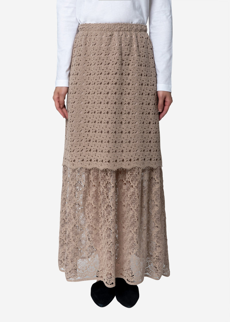 Floral Geometric Chemical Lace Skirt in Beige