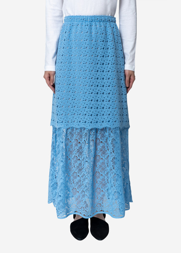 Floral Geometric Chemical Lace Skirt in Blue