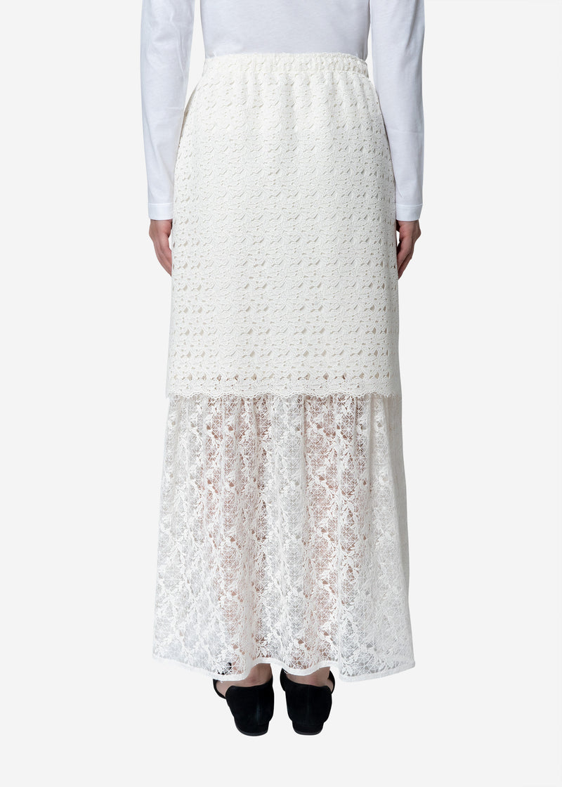 Floral Geometric Chemical Lace Skirt in White