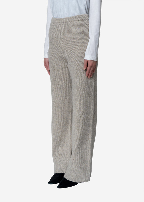 Silk Nep Wool Knit Pants in Ivory