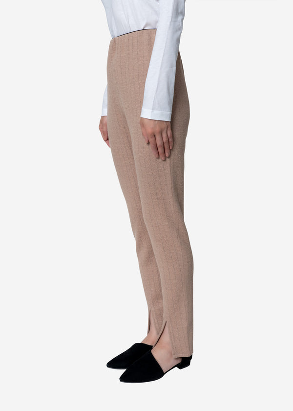 Super120s Wool Stripe Jacquard Slim Pants in Beige