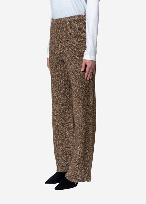 Silk Nep Wool Knit Pants in Brown