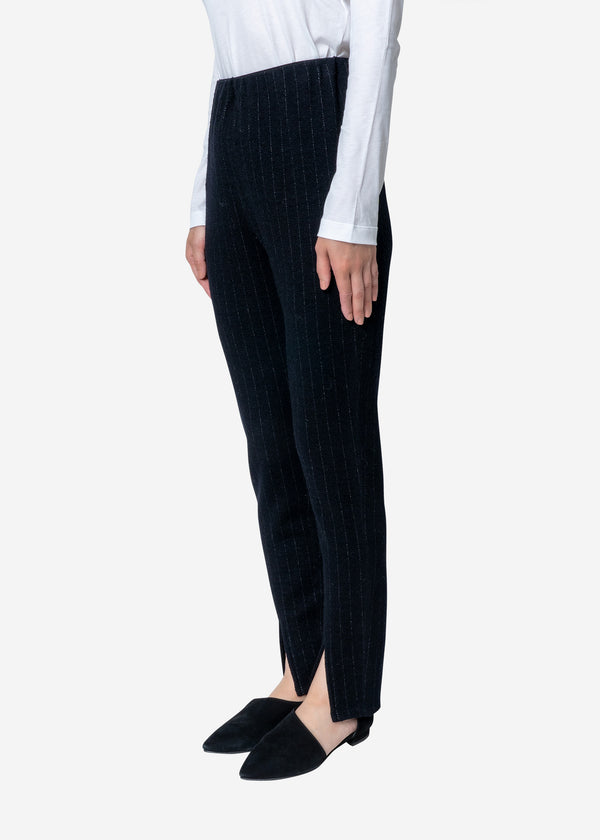 Super120s Wool Stripe Jacquard Slim Pants in Navy