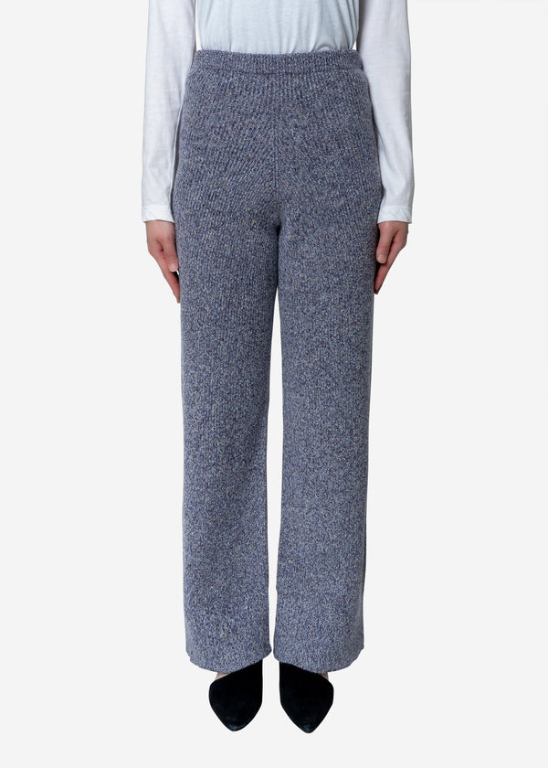 Silk Nep Wool Knit Pants in Purple