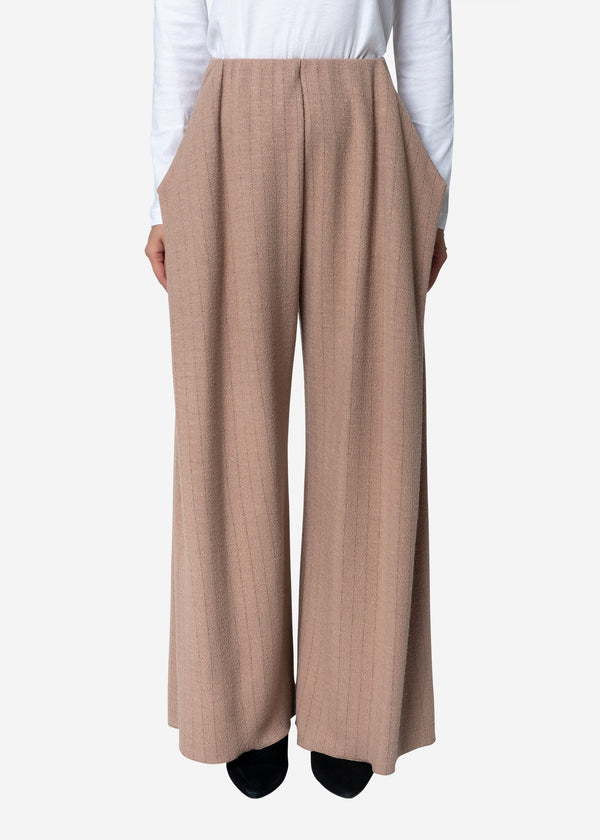 Super120s Wool Stripe Jacquard Tuck Pants in Beige