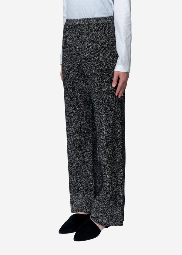 Silk Nep Wool Knit Pants in Black
