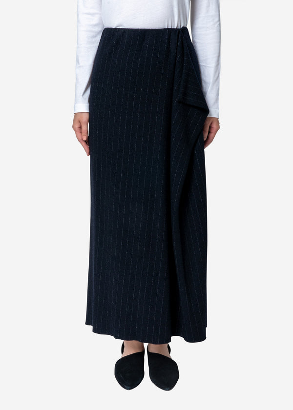 Super120s Wool Stripe Jacquard Skirt in Navy