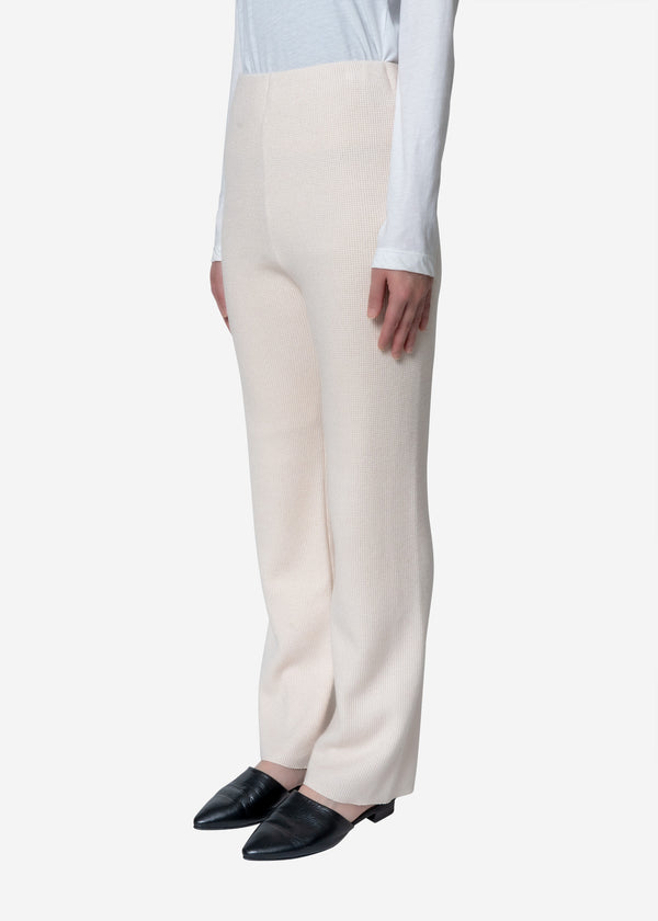 Super140s Wool Waffle Pants in Ivory