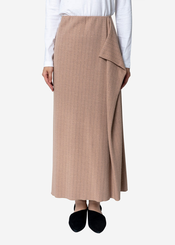 Super120s Wool Stripe Jacquard Skirt in Beige