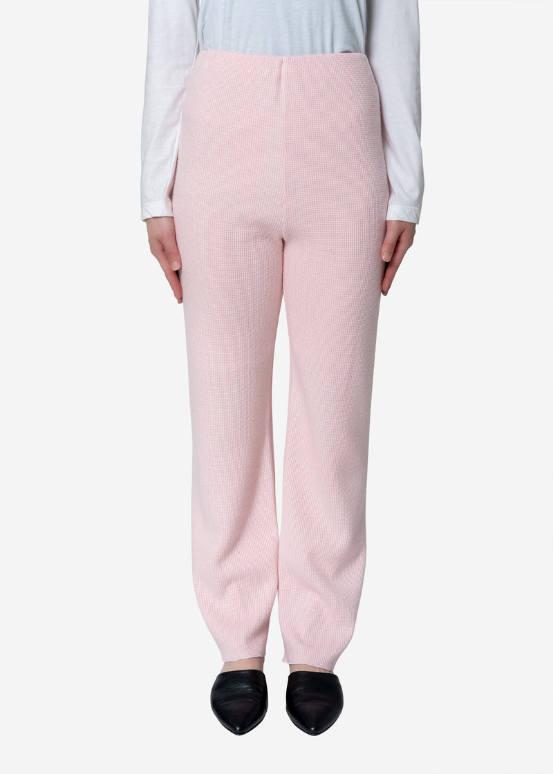 Super140s Wool Waffle Pants in Light Pink