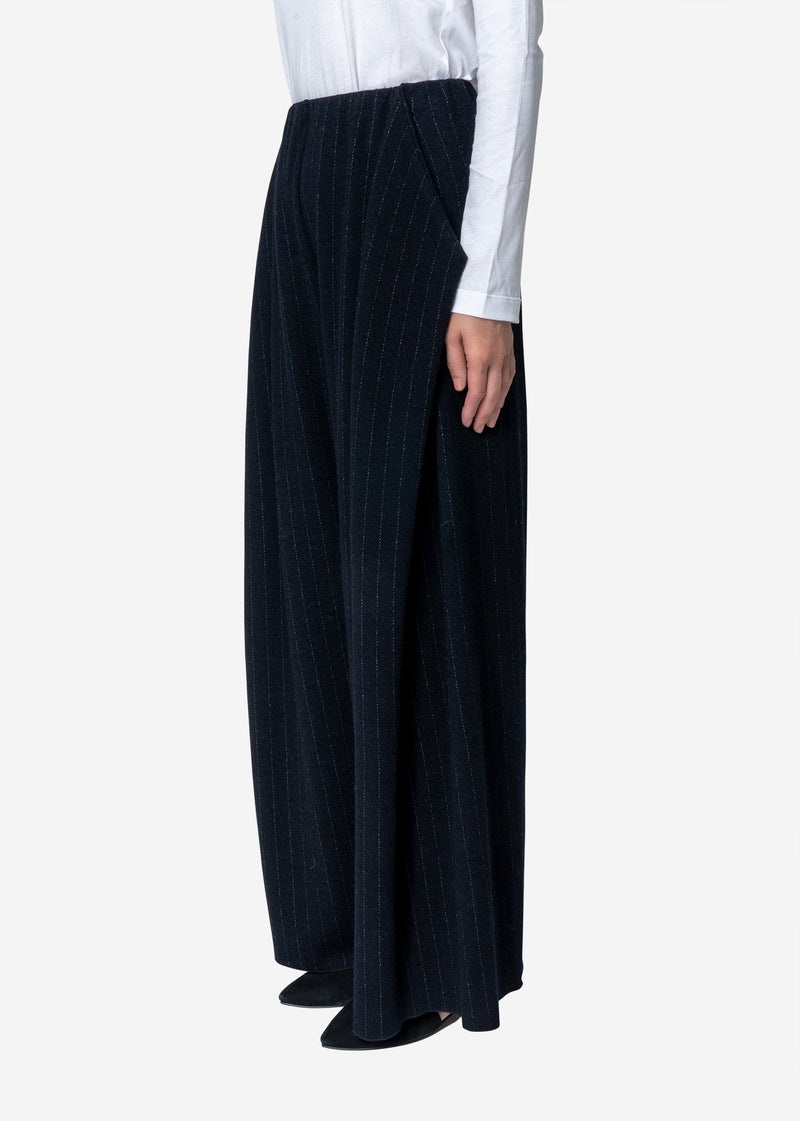 Super120s Wool Stripe Jacquard Tuck Pants in Navy