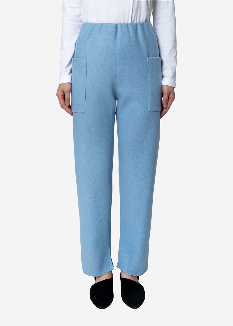 Super140s Wool Milled Melton Pants in Blue