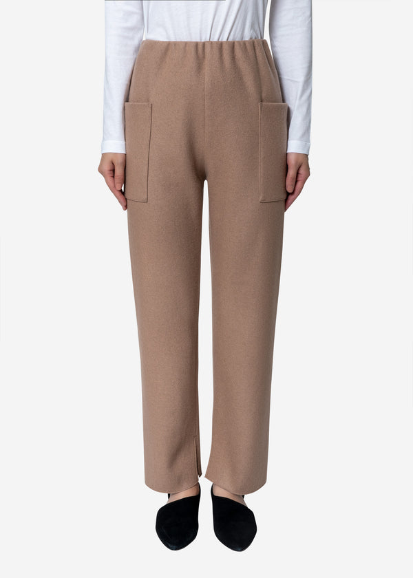 Super140s Wool Milled Melton Pants in Beige