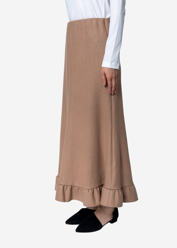 Super140s Wool Milled Melton Skirt in Beige