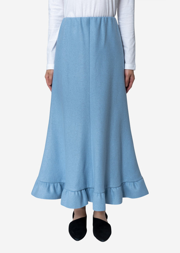 Super140s Wool Milled Melton Skirt in Blue
