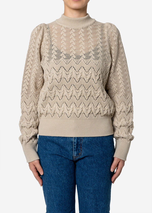 Cable Stitch Long Sleeve Sweater in Beige