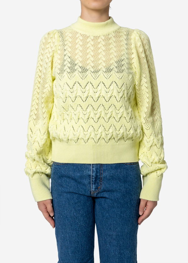 Cable Stitch Long Sleeve Sweater in Light Yellow