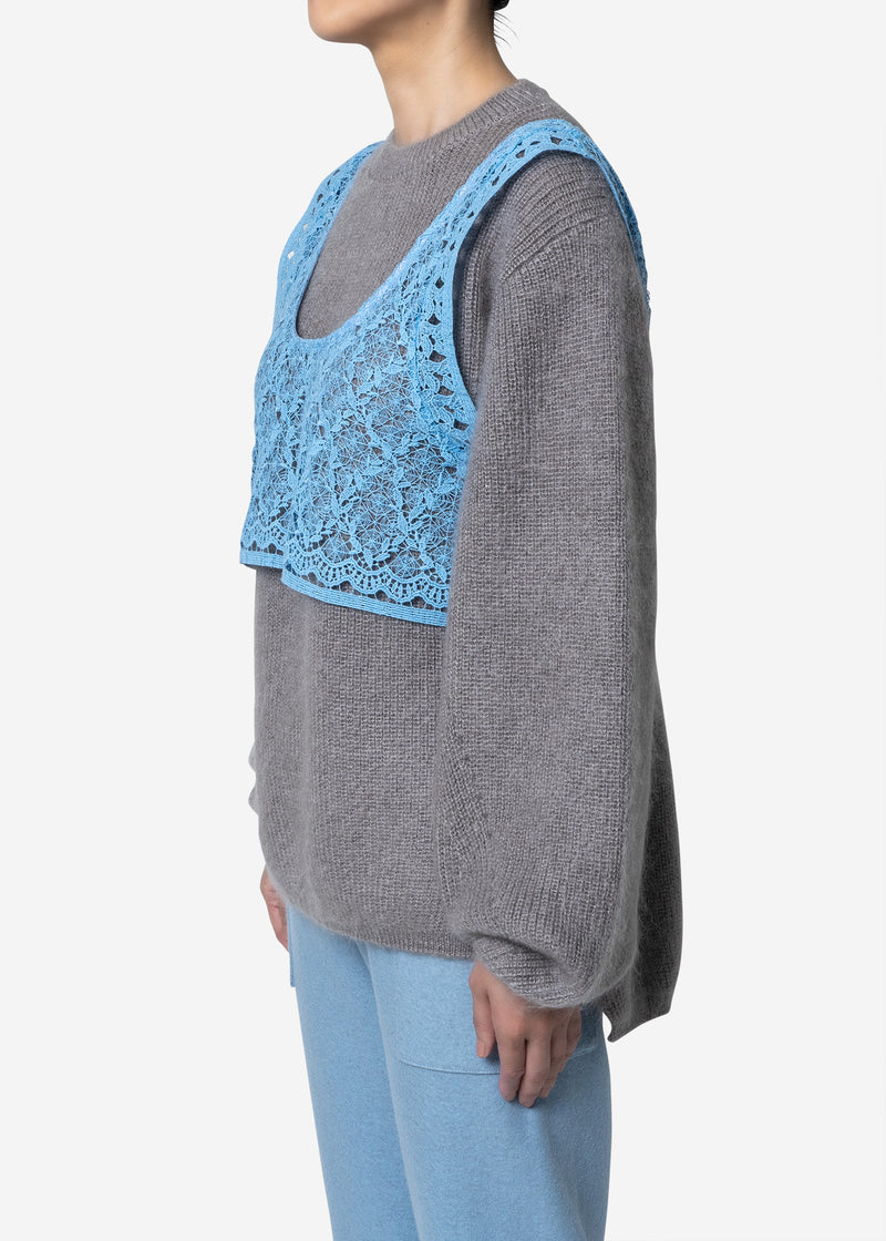 Floral Geometric Chemical Lace Vest in Blue