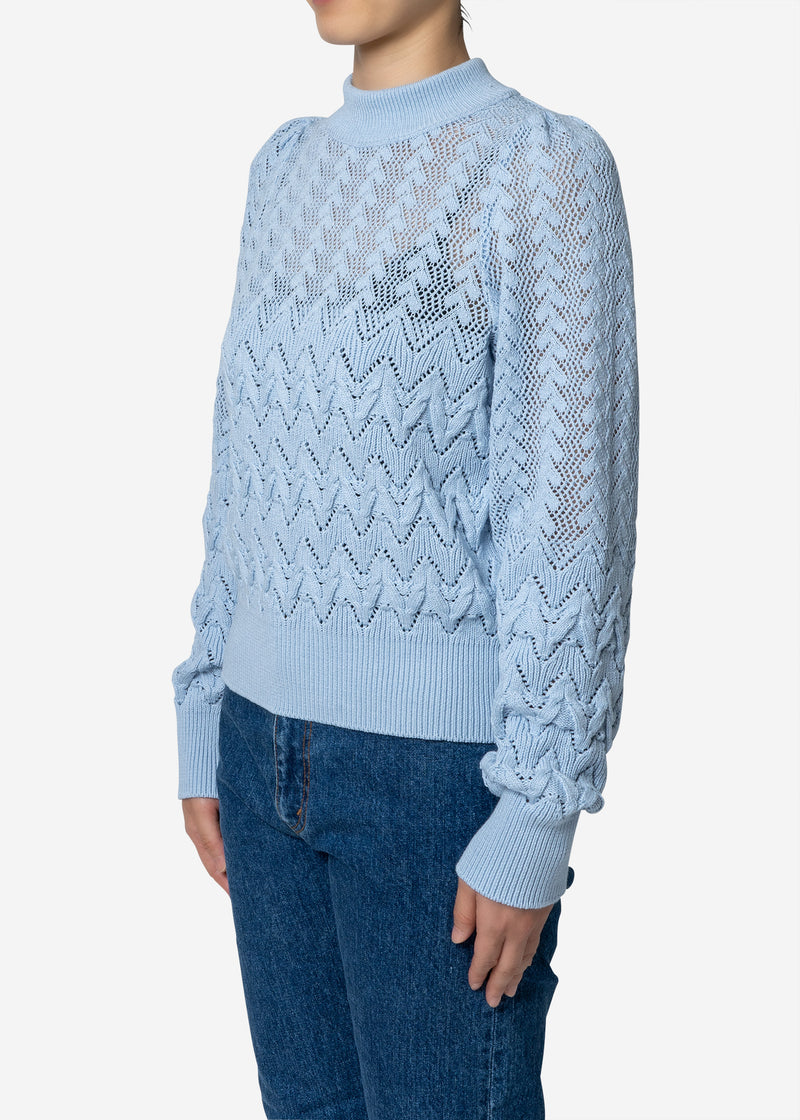 Cable Stitch Long Sleeve Sweater in Light Blue