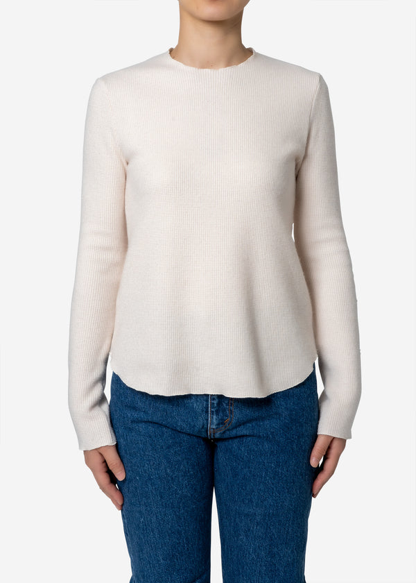 Super140s Wool Waffle Long Sleeve Tee in Ivory