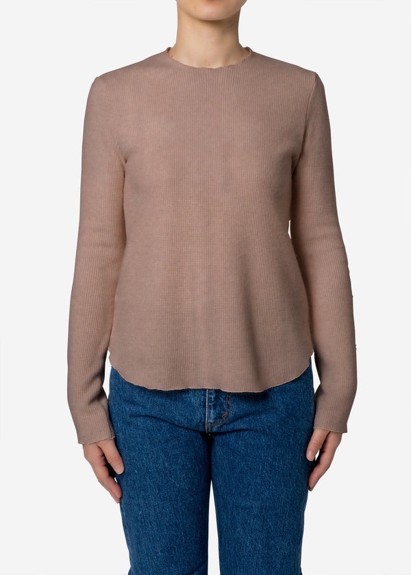 Super140s Wool Waffle Long Sleeve Tee in Beige