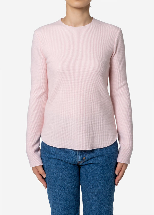 Super140s Wool Waffle Long Sleeve Tee in Light Pink