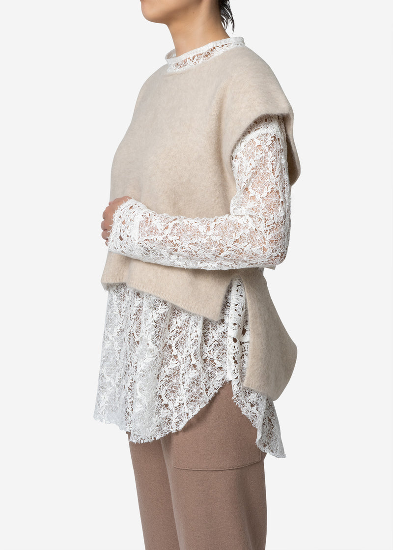 Superfine Fur Sleeveless Sweater in Ivory