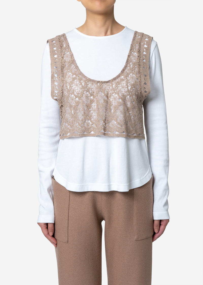 Floral Geometric Chemical Lace Vest in Beige