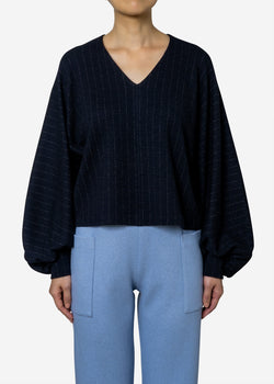 Super120s Wool Stripe Jacquard Puff Blouse in Navy