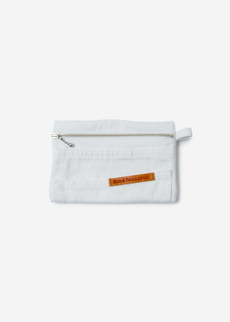 Denim Remake Pouch in White
