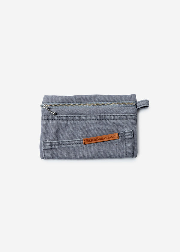 Denim Remake Pouch in Gray