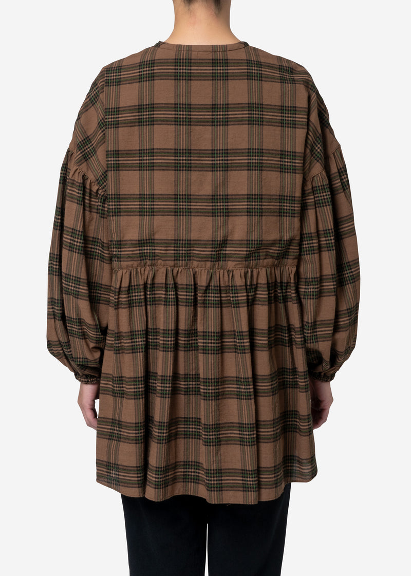 Exclusive Check Gather Blouse in Brown Mix