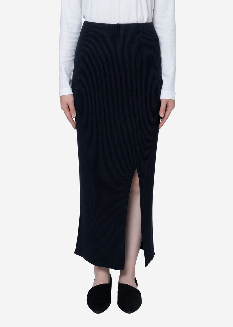 Exclusive Rib Skirt in Navy
