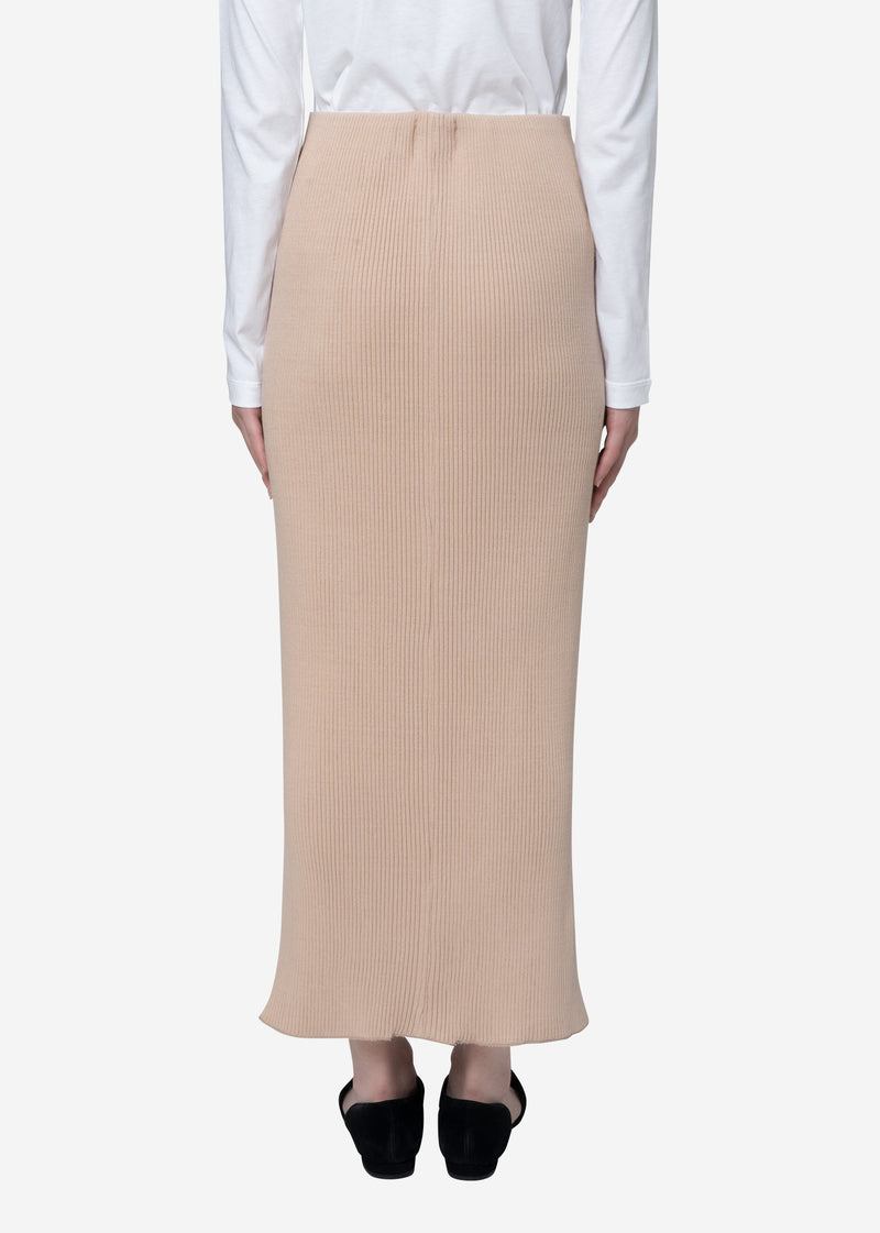 Exclusive Rib Skirt in Beige