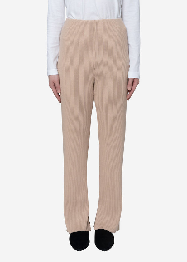 Exclusive Rib Pants in Beige
