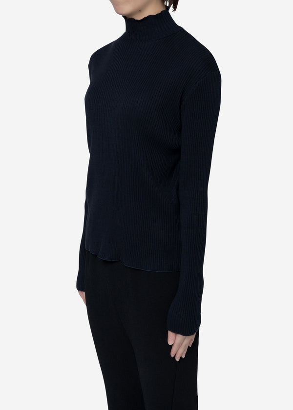 Exclusive Rib High Neck Top in Navy