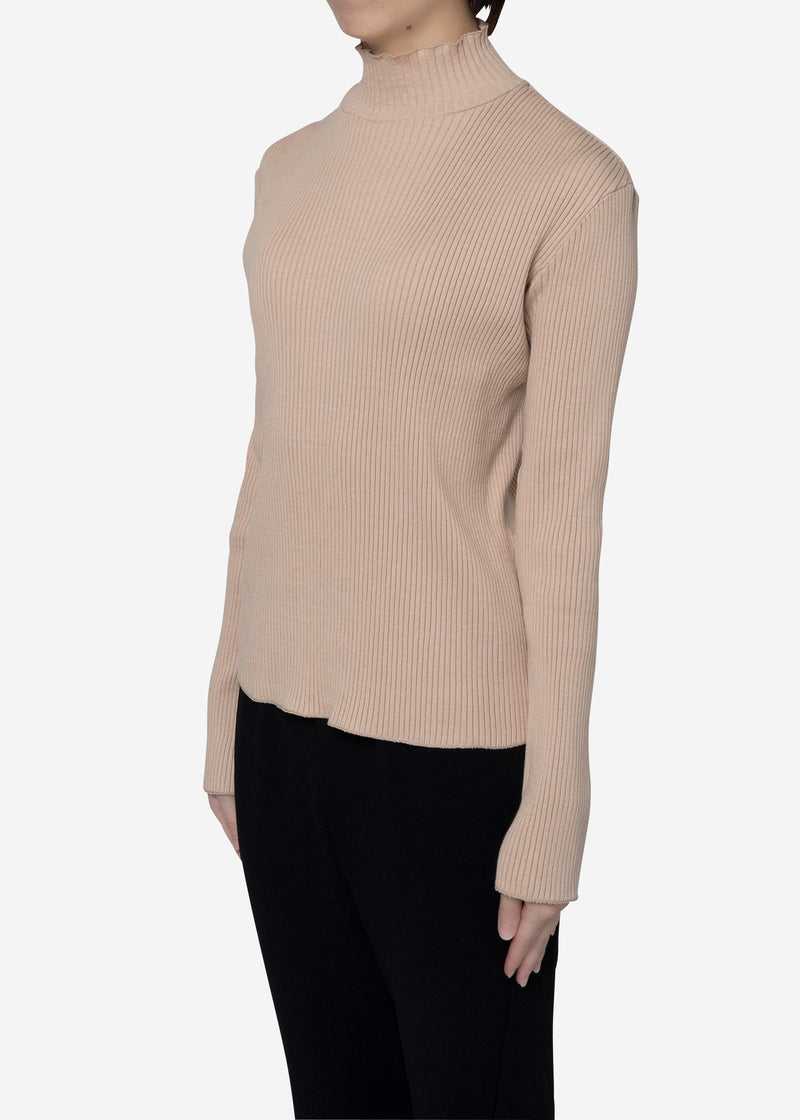 Exclusive Rib High Neck Top in Beige