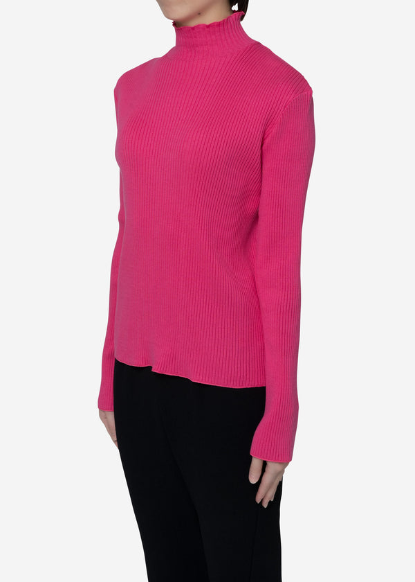 Exclusive Rib High Neck Top in Pink