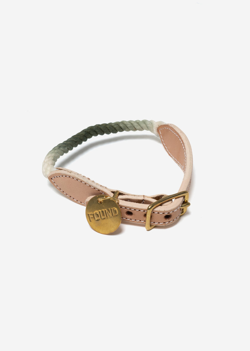 Olive Ombre Rope Dog Collar Small