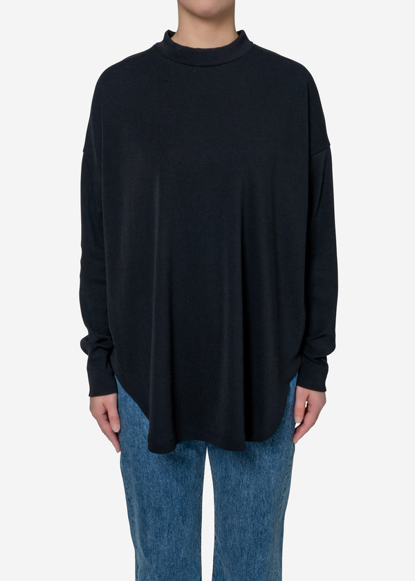 Technorama Rib Big Long Sleeve Tee in Black