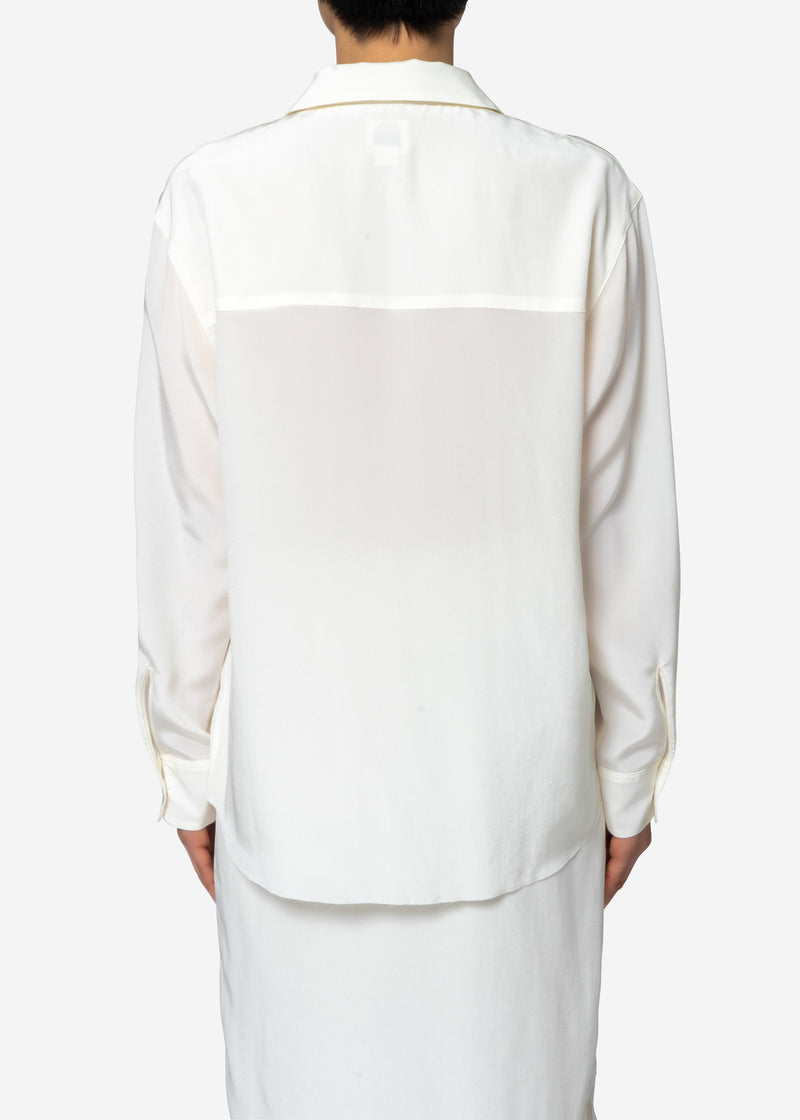 Silk Crape Dechine Shirt in Off White