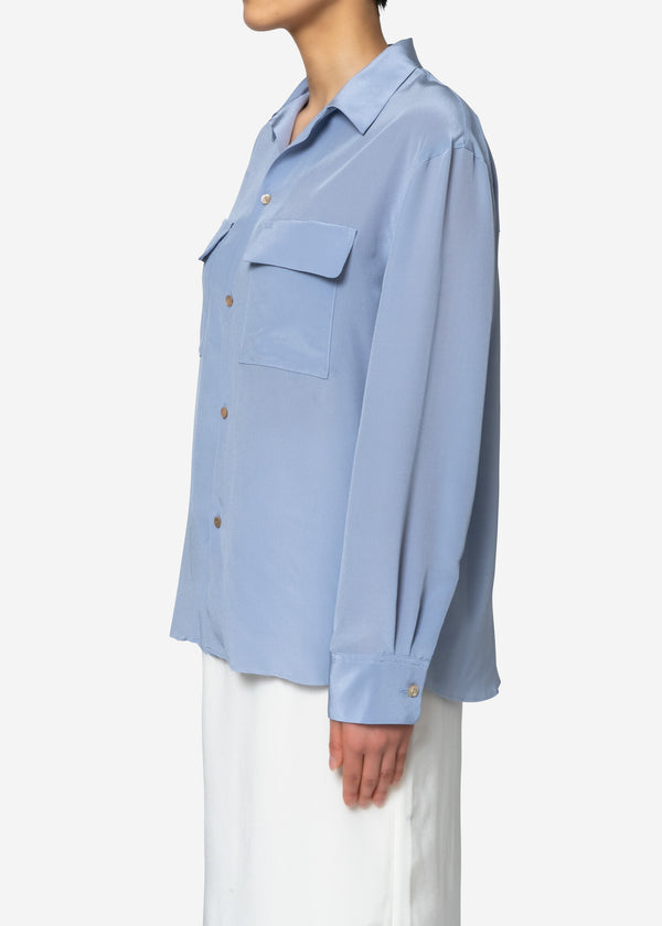 Silk Crape Dechine Shirt in Blue