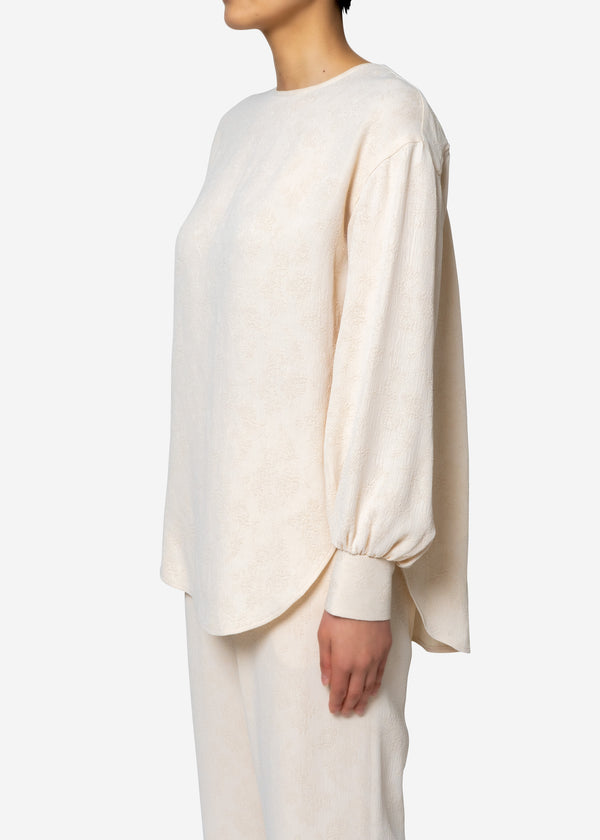 Original Flower Crepe Jacquard Long sleeve Blouse in Ivory