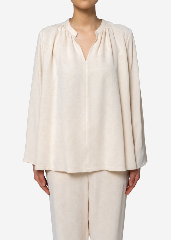 Original Flower Crepe Jacquard Blouse in Ivory