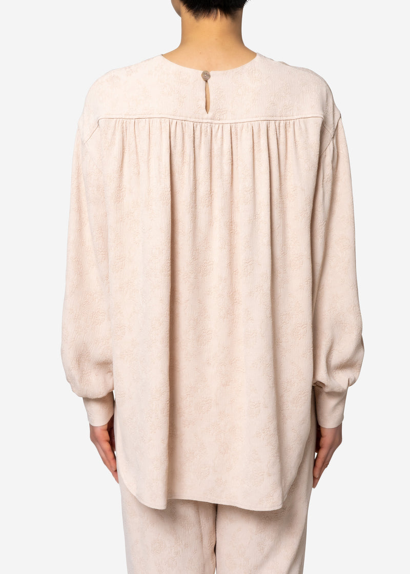 Original Flower Crepe Jacquard Long sleeve Blouse in Beige