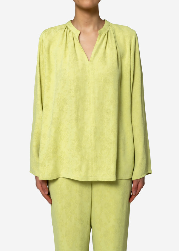 Original Flower Crepe Jacquard Blouse in Lime