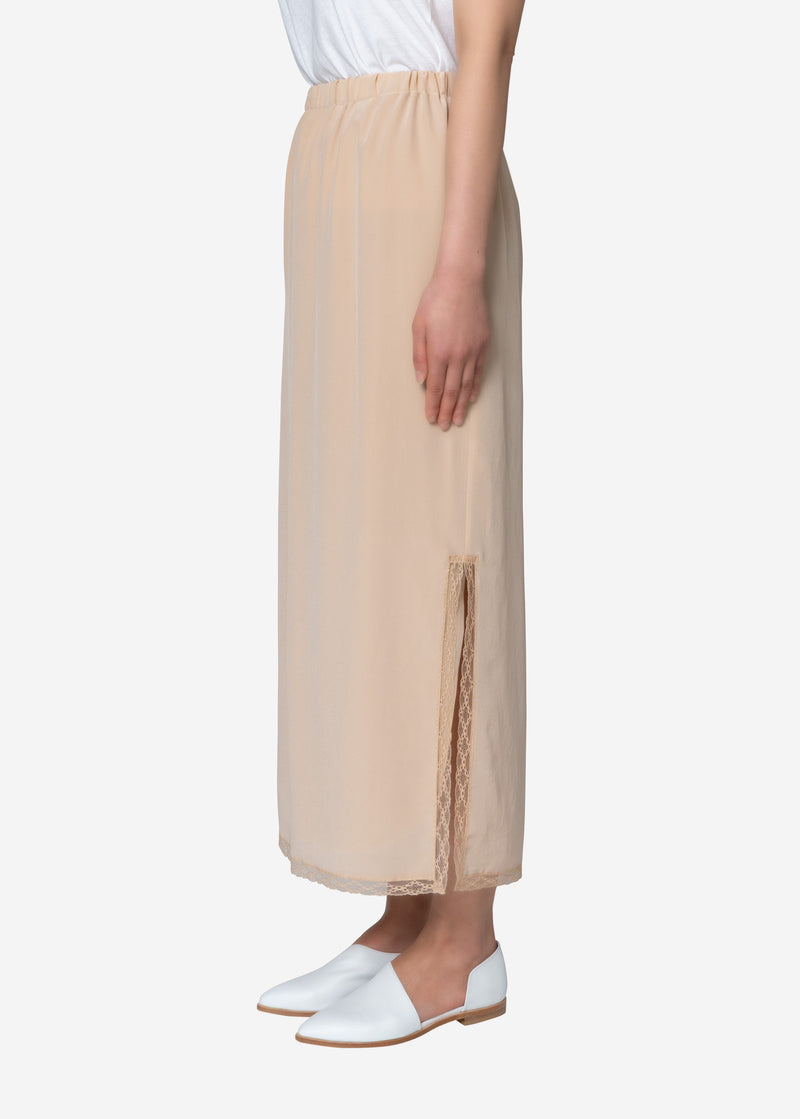 Silk Crape Dechine Skirt in Beige