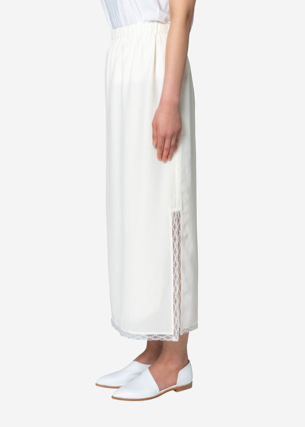 Silk Crape Dechine Skirt in Off White