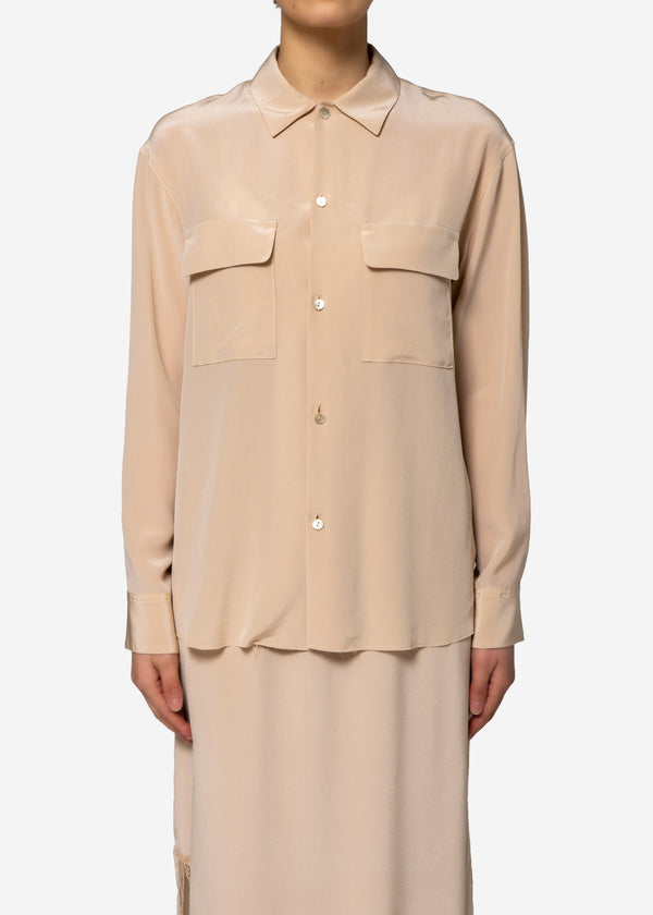 Silk Crape Dechine Shirt in Beige